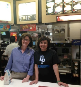 Behind the counter at McDonald's on McTeacher's Night fundraiser.